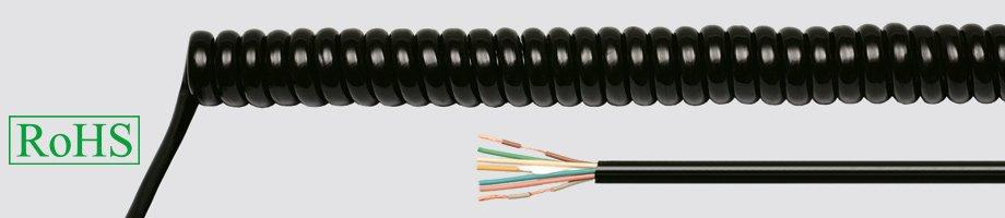 Przewody spiralne w powłoce PUR czarne