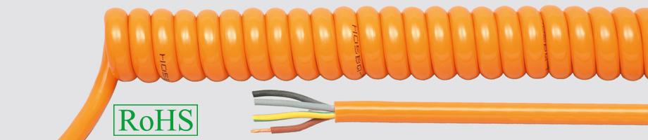 Przewody spiralne w powłoce PUR, pomarańczowe