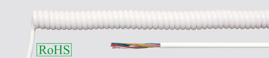 Przewody spiralne w powłoce PVC, biały/czarny