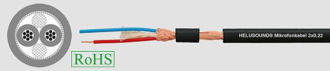 HELUSOUND 2x0,22 Przewód mikrofonowy bezhalogenowy czarny