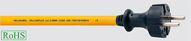 YELLOWFLEX 2x1,5 Przewód konfekcjonowany metr. wtyczka bez uziemienia, 10m